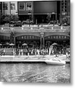 Chicago Parked On The River Walk Panorama 02 Bw Metal Print