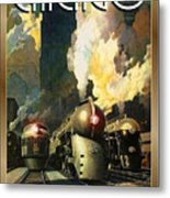 Chicago Railway, Steam Trains Metal Print