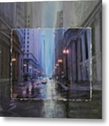Chicago Rainy Street Expanded Metal Print