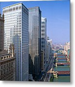 Chicago River, Aerial Shot, Illinois Metal Print
