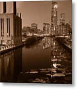 Chicago River B And W Metal Print