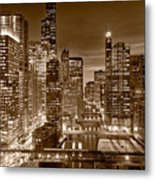 Chicago River City View B And W Metal Print