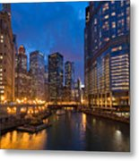 Chicago River Lights Metal Print