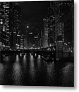 Chicago River Night Skyline Metal Print