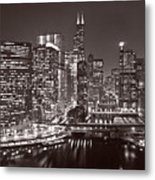Chicago River Panorama B W Metal Print