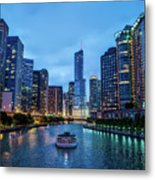 Chicago River Sunset Metal Print