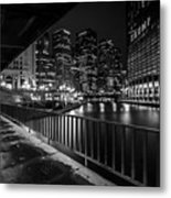 Chicago River View In Black And White  Metal Print