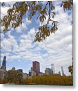 Chicago Skyline And Fall Colors Metal Print
