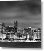 Chicago Skyline At Night Black And White Metal Print