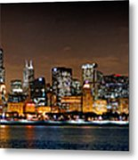 Chicago Skyline At Night Extra Wide Panorama Metal Print