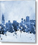 Chicago Skyline-blue 2 Metal Print