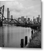 Chicago Skyline From The Southside In Black And White Metal Print