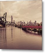Chicago Skyline From The Southside With Red Bridge Metal Print