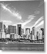 Chicago Skyline Panorama Black And White Metal Print