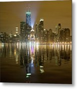 Chicago Skyline With Lindbergh Beacon On Palmolive Building Metal Print