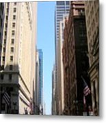 Chicago Street With Flags Metal Print