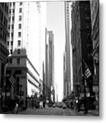 Chicago Street With Flags B-w Metal Print
