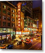 Chicago Theater At Night Metal Print