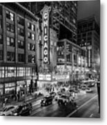 Chicago Theater In Black And White Metal Print