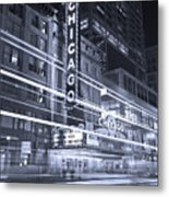 Chicago Theater Marquee B And W Metal Print