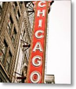 Chicago Theater Sign Marquee Metal Print