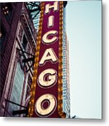 Chicago Theatre Marquee Sign Vintage Metal Print