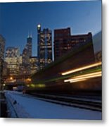 Chicago Train Blur Metal Print