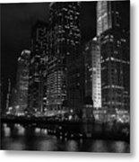 Chicago Wacker Drive Night Portrait Metal Print