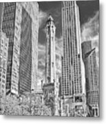 Chicago Water Tower Shopping Black And White Metal Print