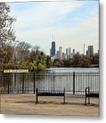 Chicago With Benches Metal Print