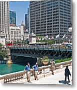 Chicago's Dusable Bridge On N. Michigan Avenue Metal Print