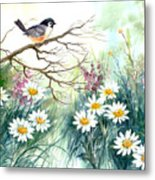 Chickadee And Daisies Metal Print