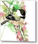 Chickadee And Spring Blossom Metal Print