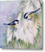 Chickadee Chat Metal Print by Patricia Pushaw