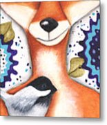 Chickadee Fox Metal Print