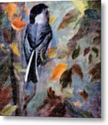 Chickadee In The Fall Metal Print