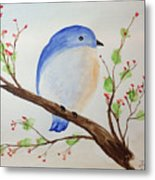 Chickadee On A Branch With Leaves Metal Print