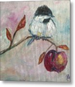Chickadee On An Apple Tree Metal Print