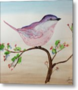 Chickadee Standing On A Branch Looking Metal Print