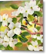 Chickadees In The Dogwood Tree Metal Print