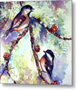 Chickadees On Twig Metal Print