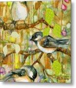 Chickadees Three Metal Print
