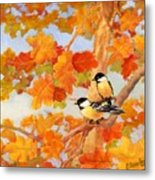 Chickadees With Oak Leaves Metal Print