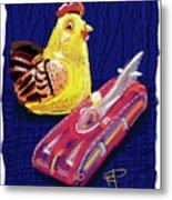 Chicken And Rocket Car Metal Print