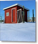 Chicken Coop In Snow Covered Field Metal Print