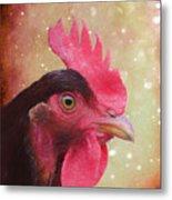 Chicken Portrait - Painting Metal Print