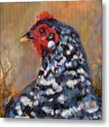 Chicken With A Pearl Ear Ring Metal Print