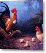 Chickens And The Fogs Metal Print