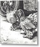 Chickens Crossing The Road Metal Print
