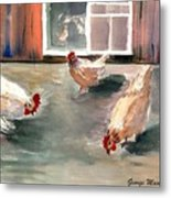 Chickens In The Barnyard Metal Print